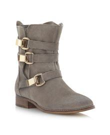 Haggle-suede buckle slouch boots