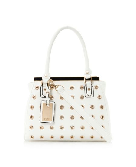 Dune Damelet eyelet enamel frame top bag