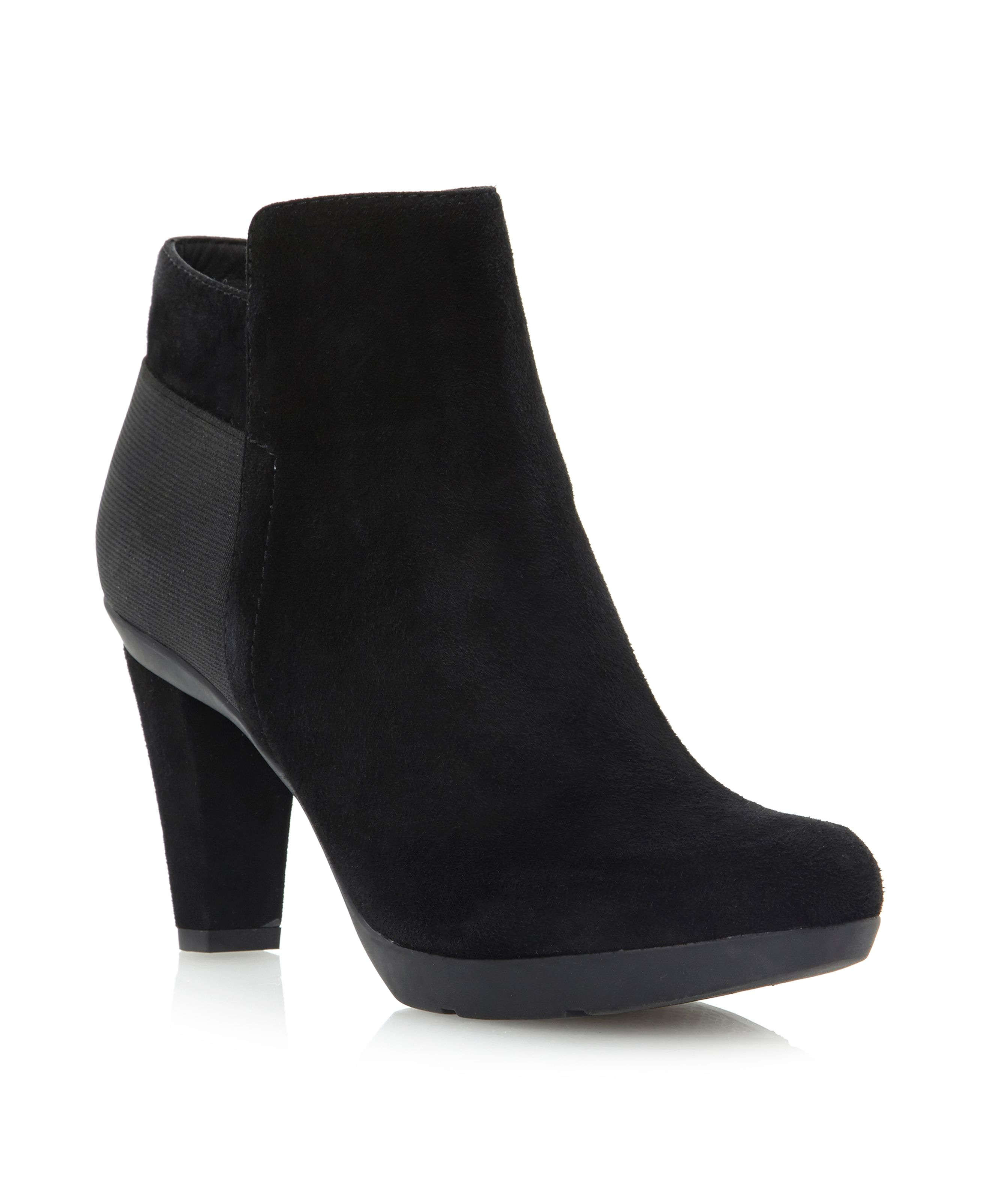 Insprtn D34G9A-elastic back suede ankle boots