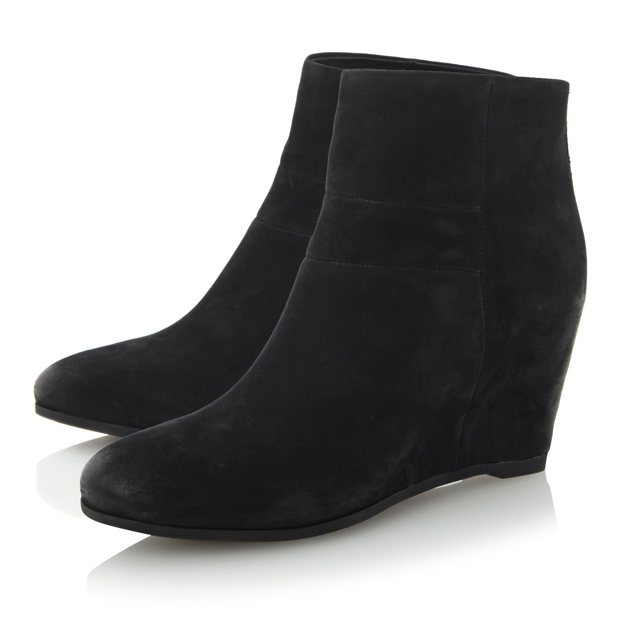 Ultraviolet D34-side strap wedge ankle boots