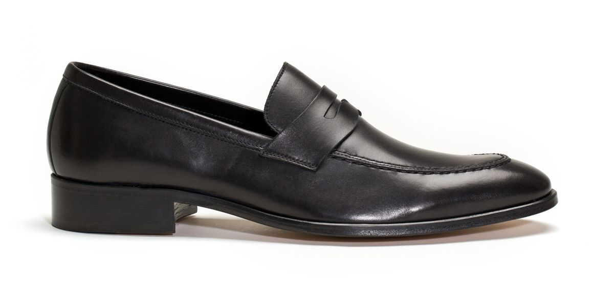 Bobby Slip On black leather shoes