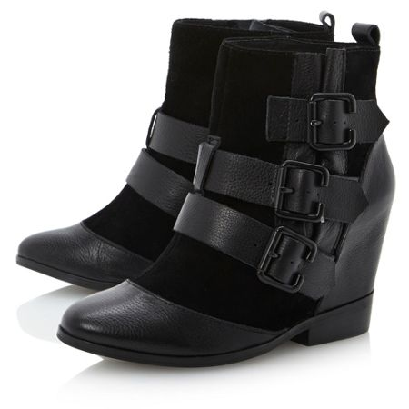 bertie python 3 buckle wedge ankle boots black