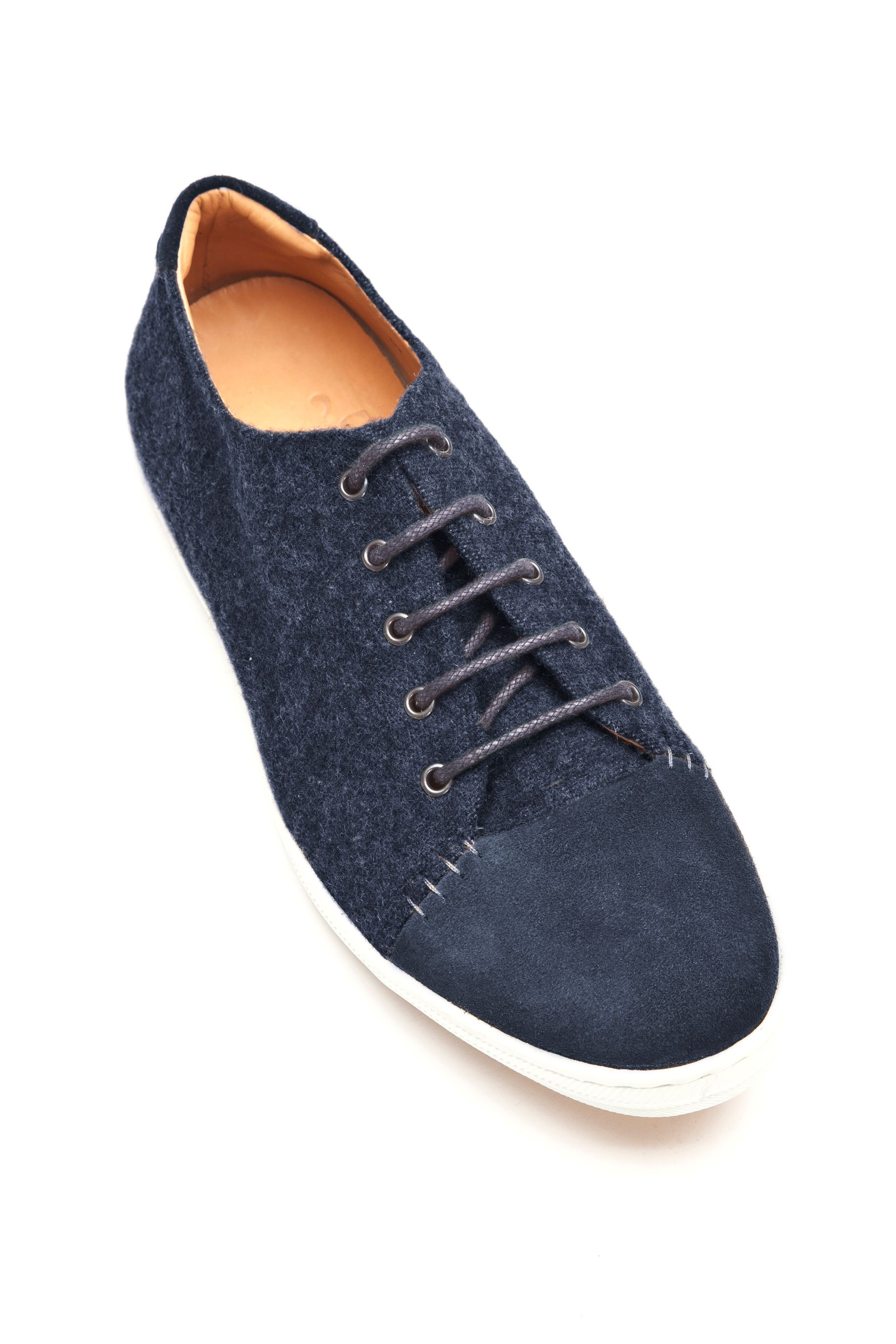 Desmond Deluxe navy fabric trainers