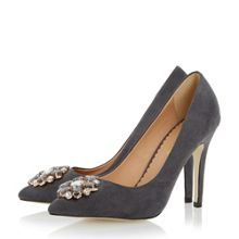 Bellaa pointed jewel trim court shoes