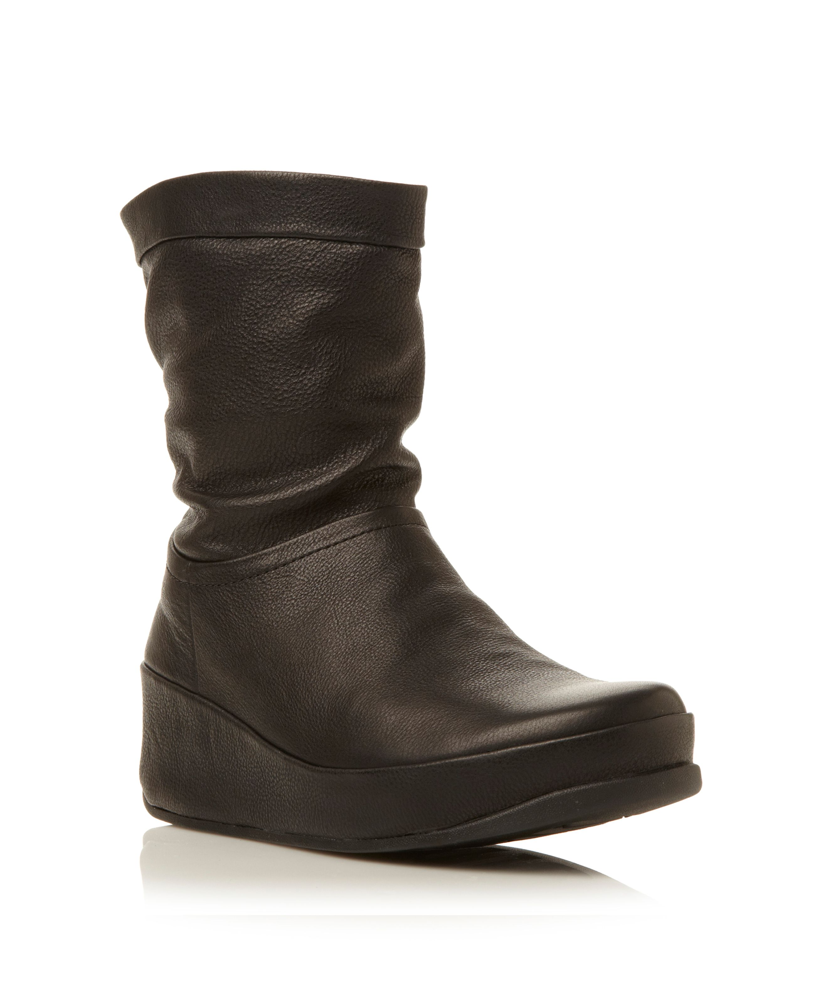 FitFlop Crush Leatherleather slouch boots Black Leather
