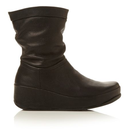 FitFlop Crush Leather-leather slouch boots