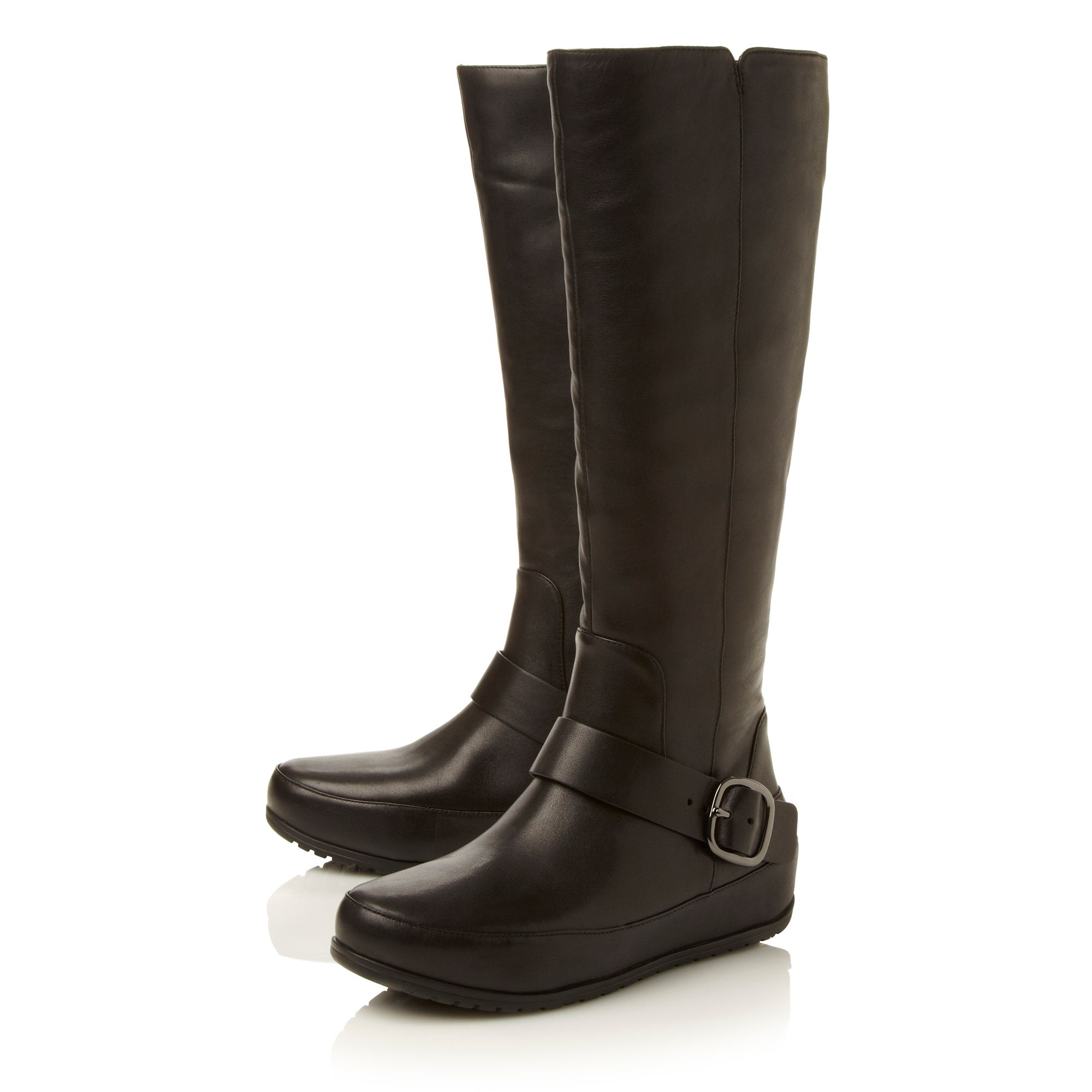 Due Buckle high leg boots