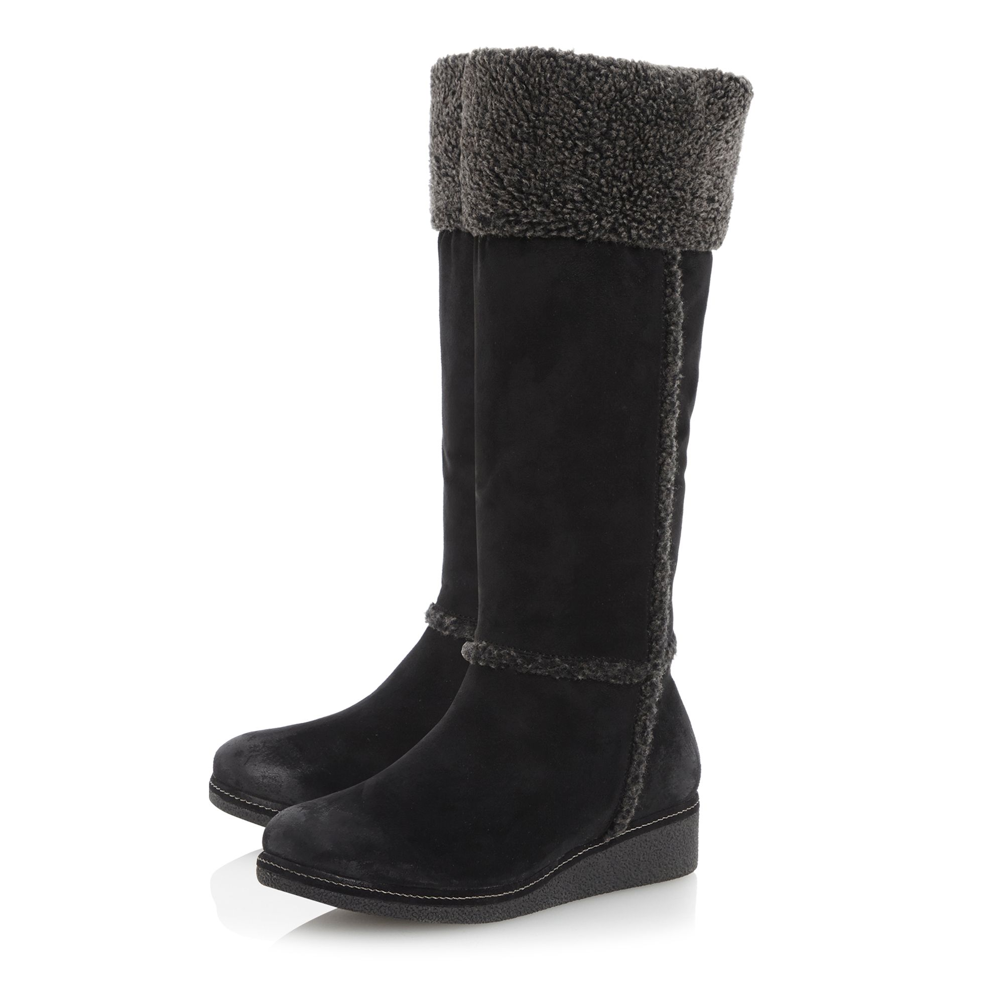 Talgarth faux fur cuff crepe sole wedge boots