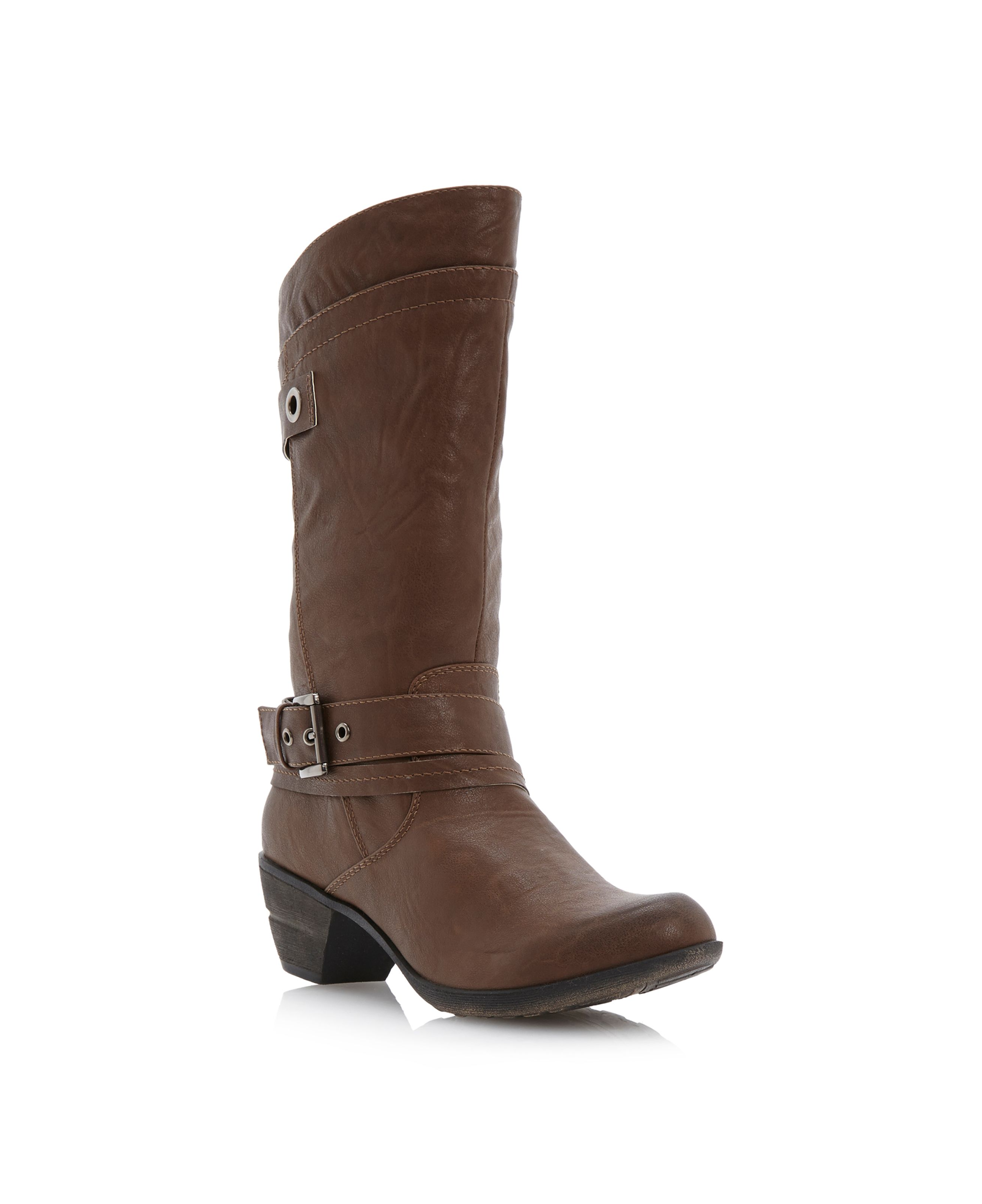 Tacoma-buckle detail calf boots