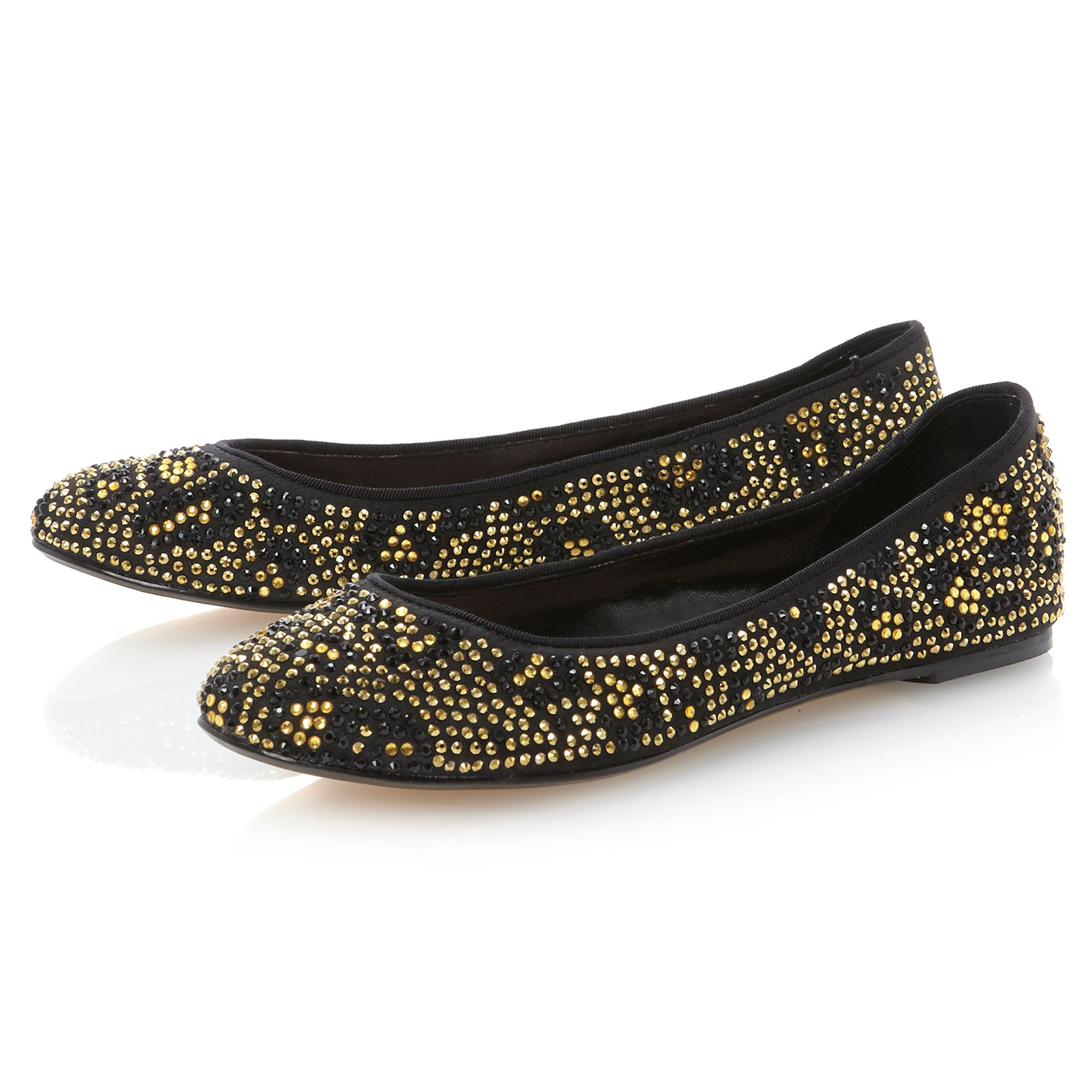 Meerie leopard diamante ballerina shoes