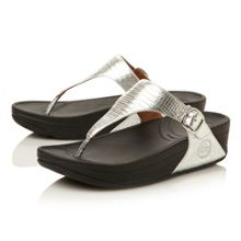 Skinny leather round toe flat buckle sandals
