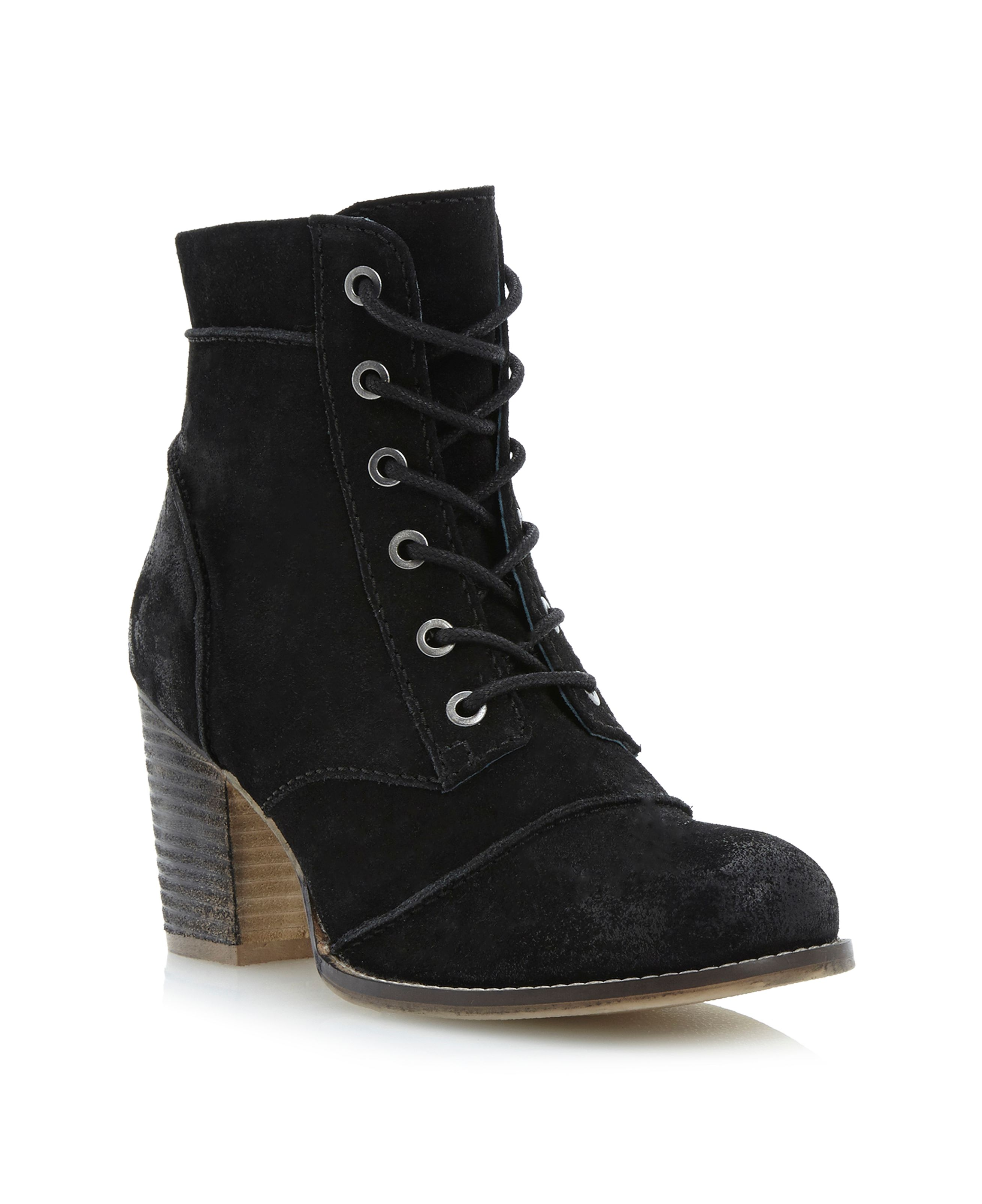 Paxson stacked heel lace up ankle boots