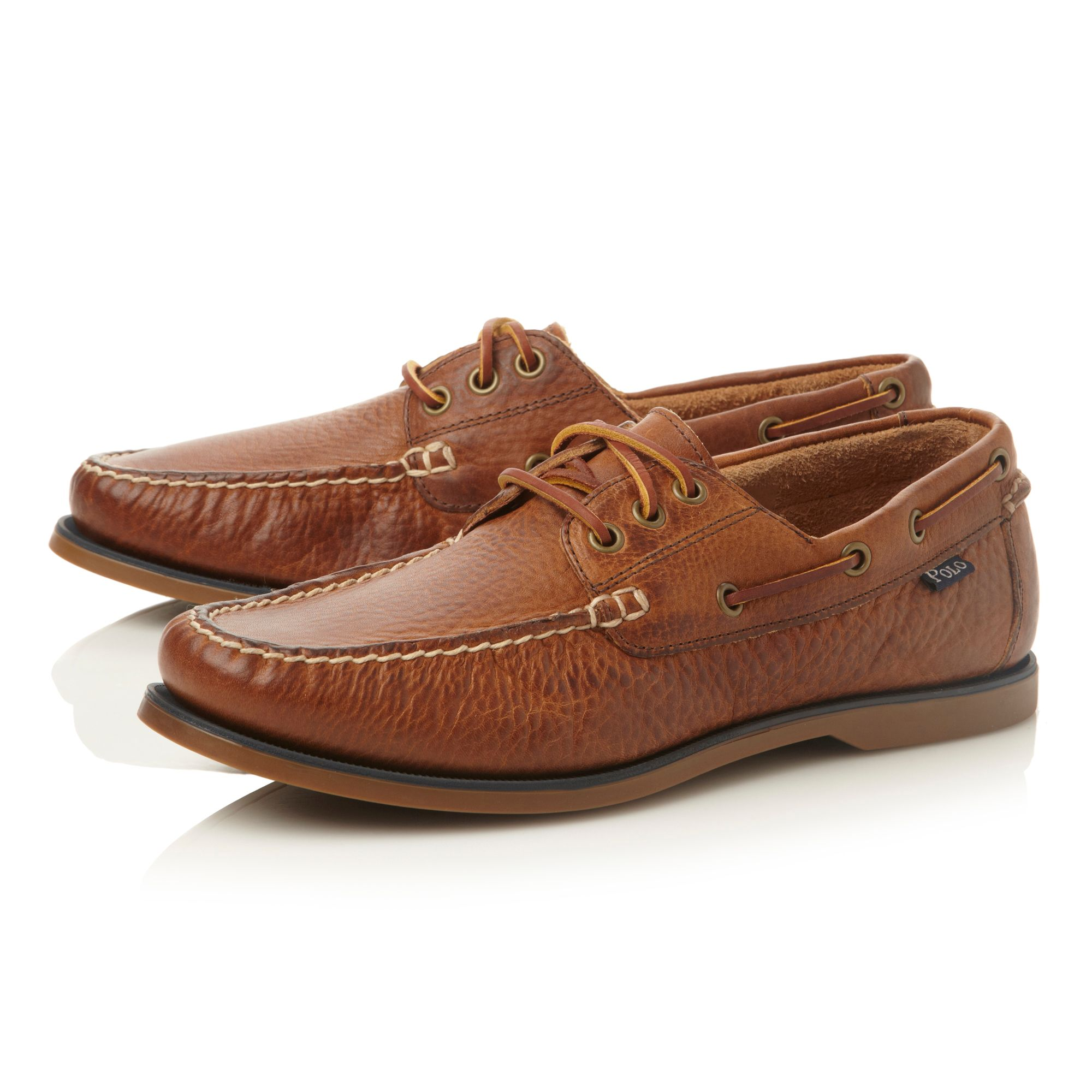 Bienne lace up tumbled leather boat shoes