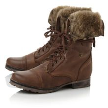 Faux fur cuff lace up boots