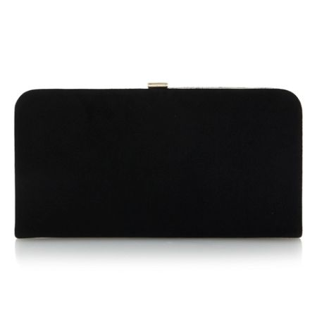 Dune Emmie-frame detail suede clutch bag