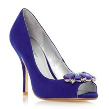 Untold Daska jewel trim peep toe court shoes
