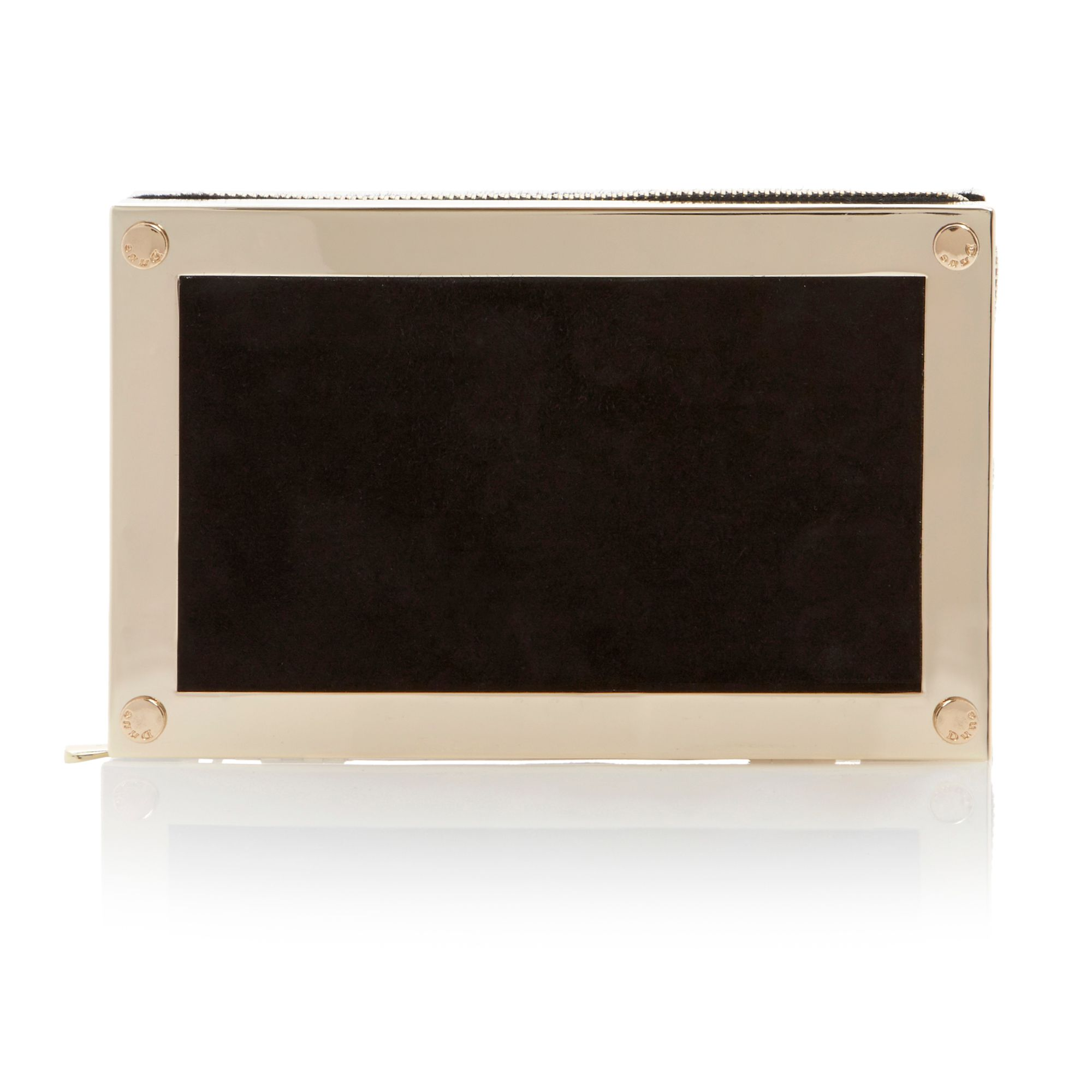 Eclipse metal frame zip clutch bag
