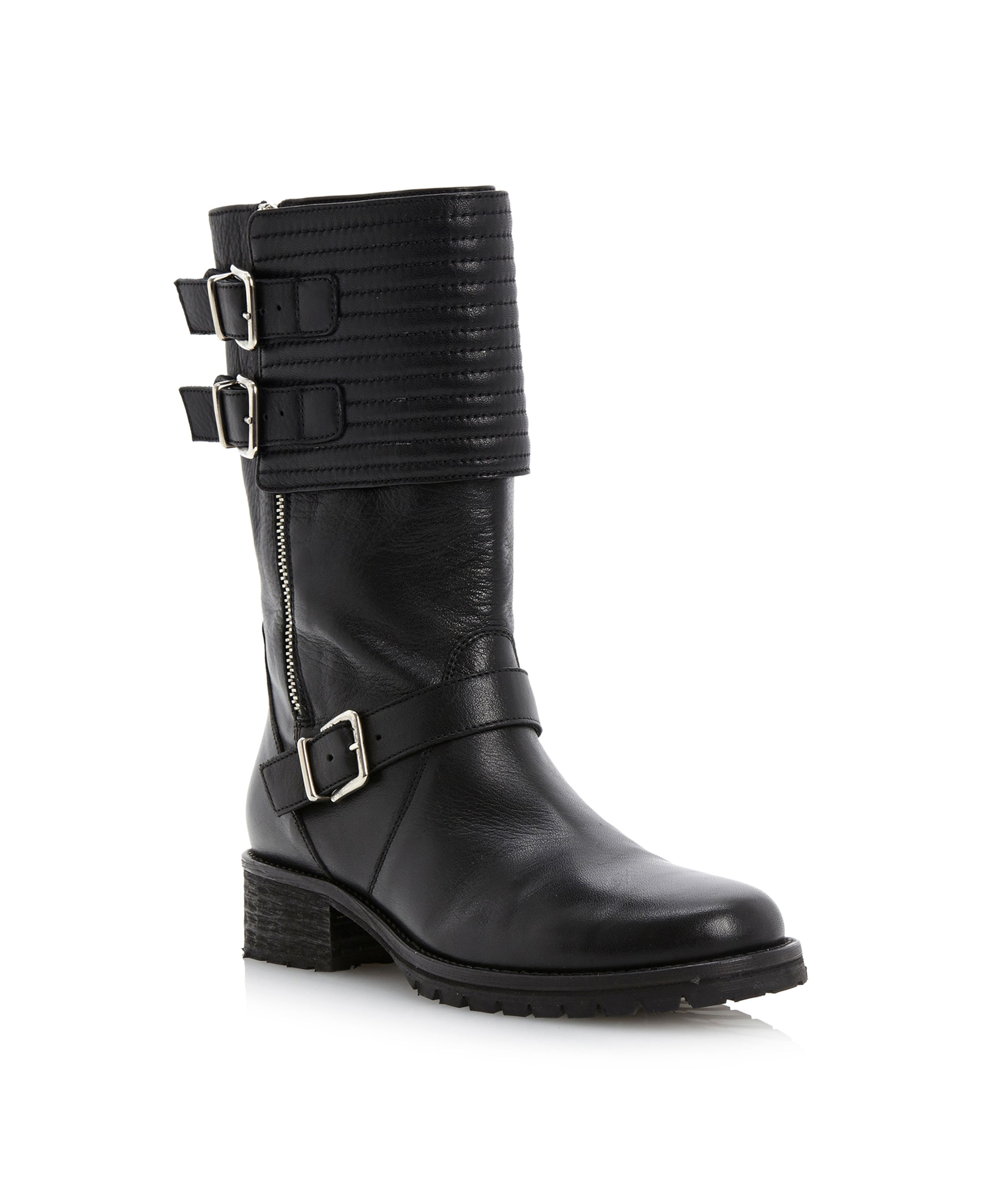 Puligop quilted biker cleated sole boots