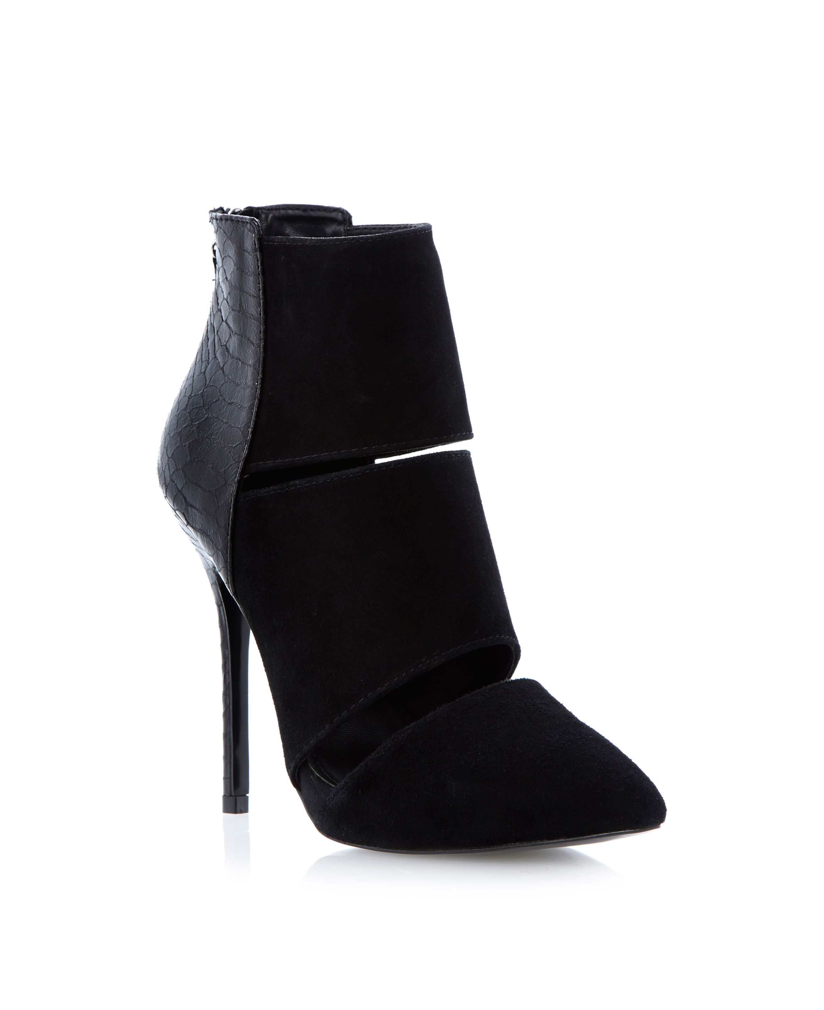 Tripplee suede and contrast stiletto heel booties