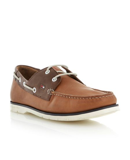 Cain 3a contrast facing lace up boat shoes