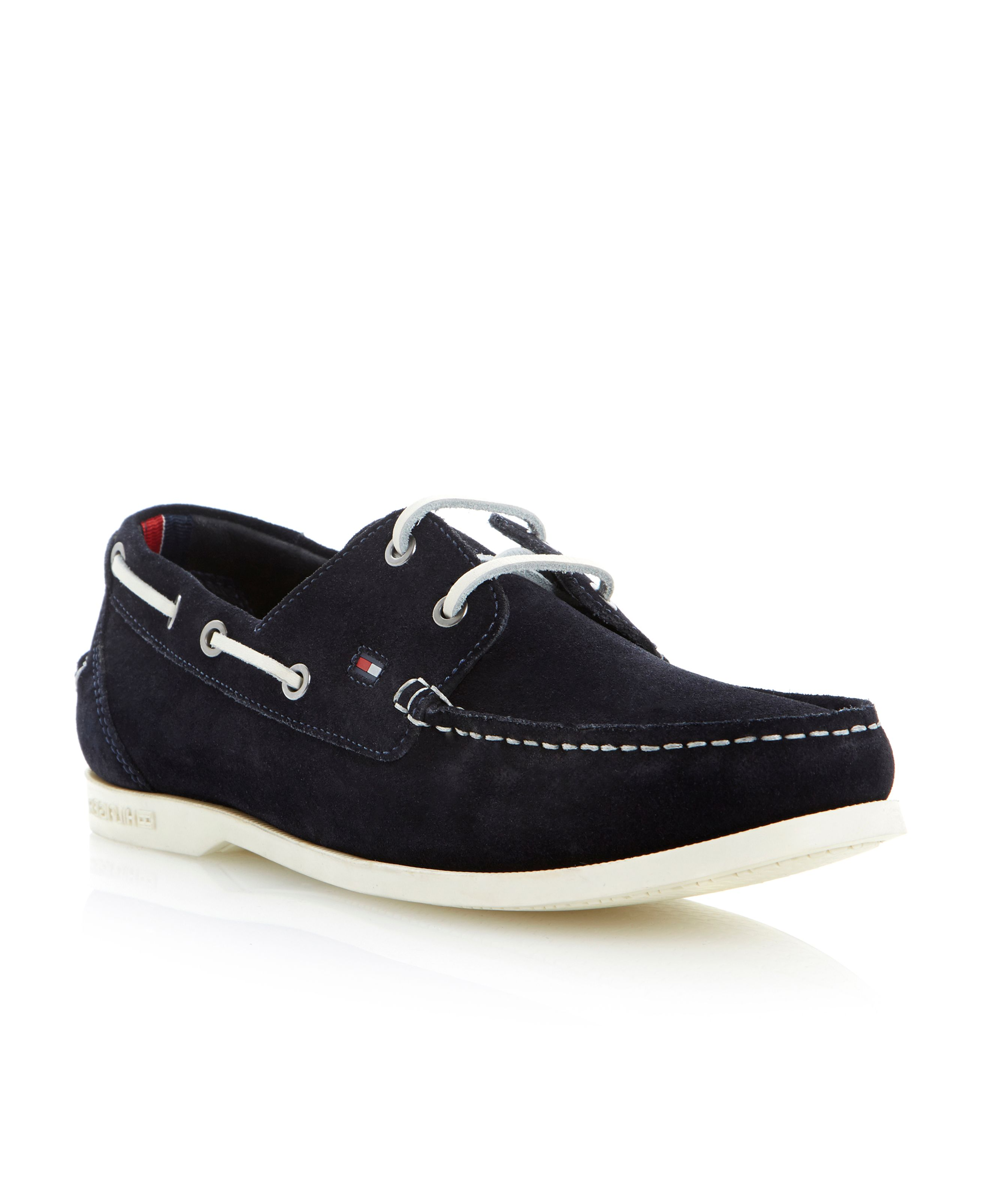 Chino 9b lace up white sole boat shoes