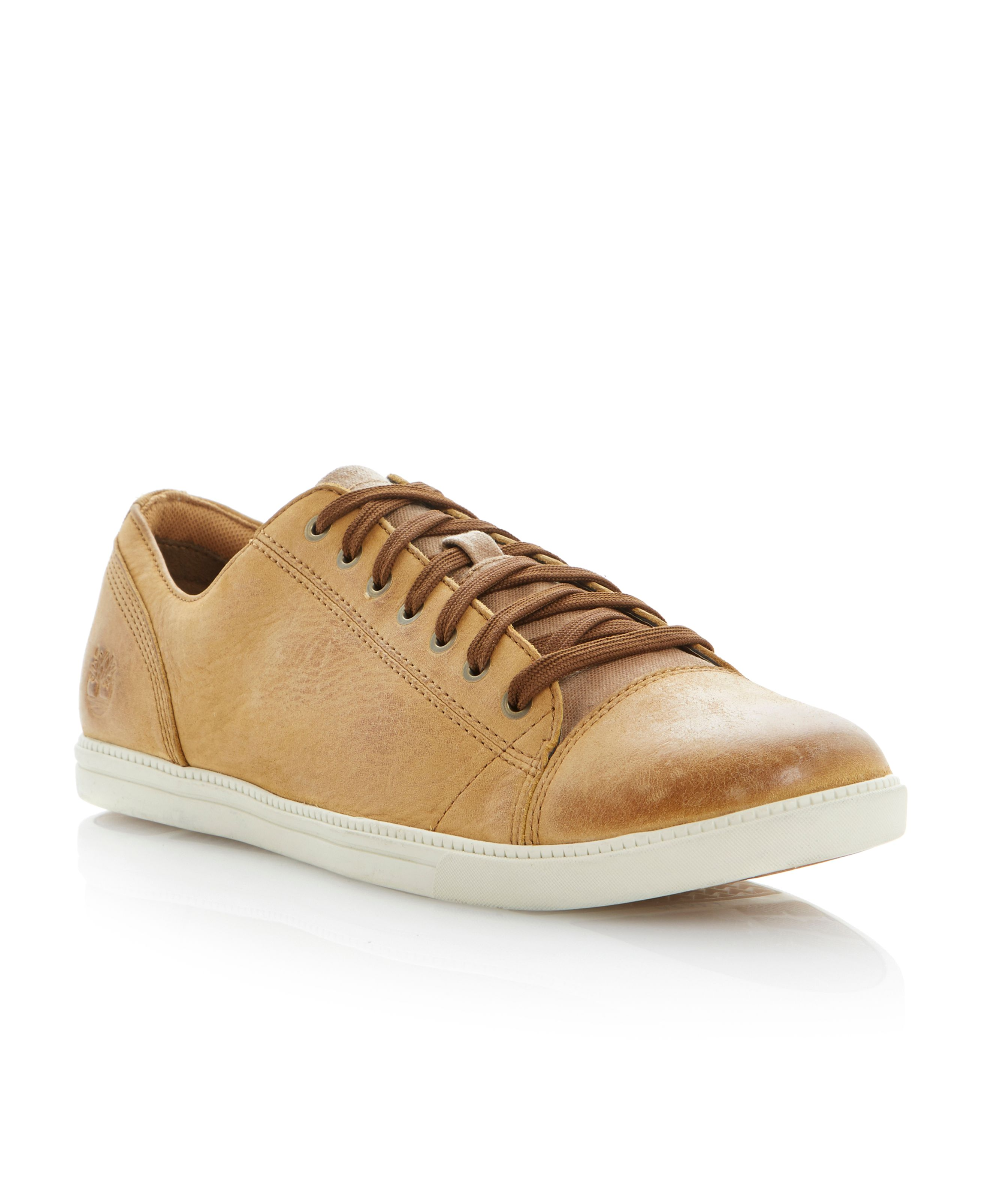 lace up toecap leather sneakers