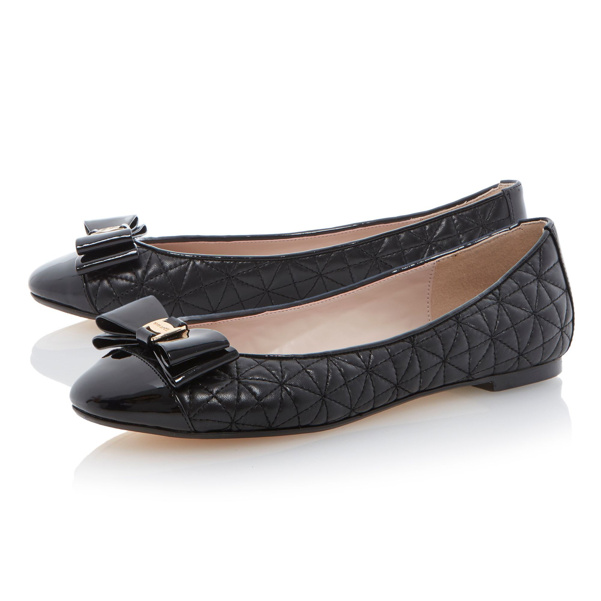 Mittle bow trim quilted leather ballerina shoes