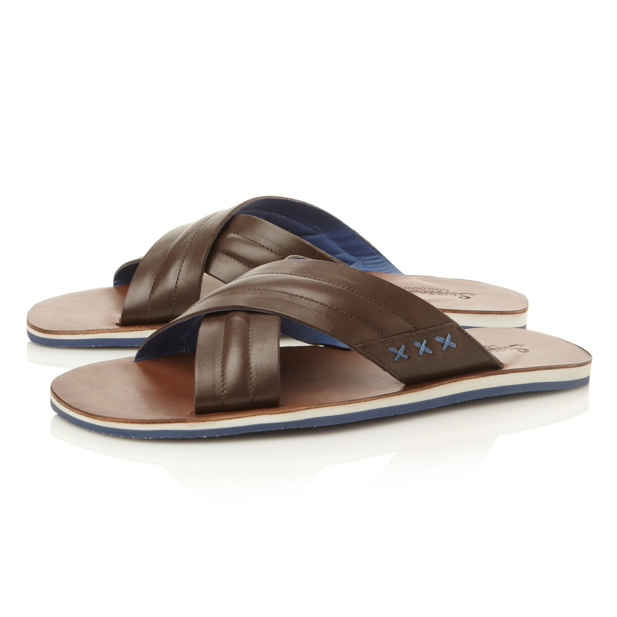 Ternes  leather crossover sandals