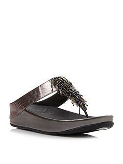 Cha cha beaded fringe toe post sandals