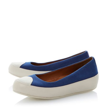 FitFlop Due canvas round toe platform ballerina shoes