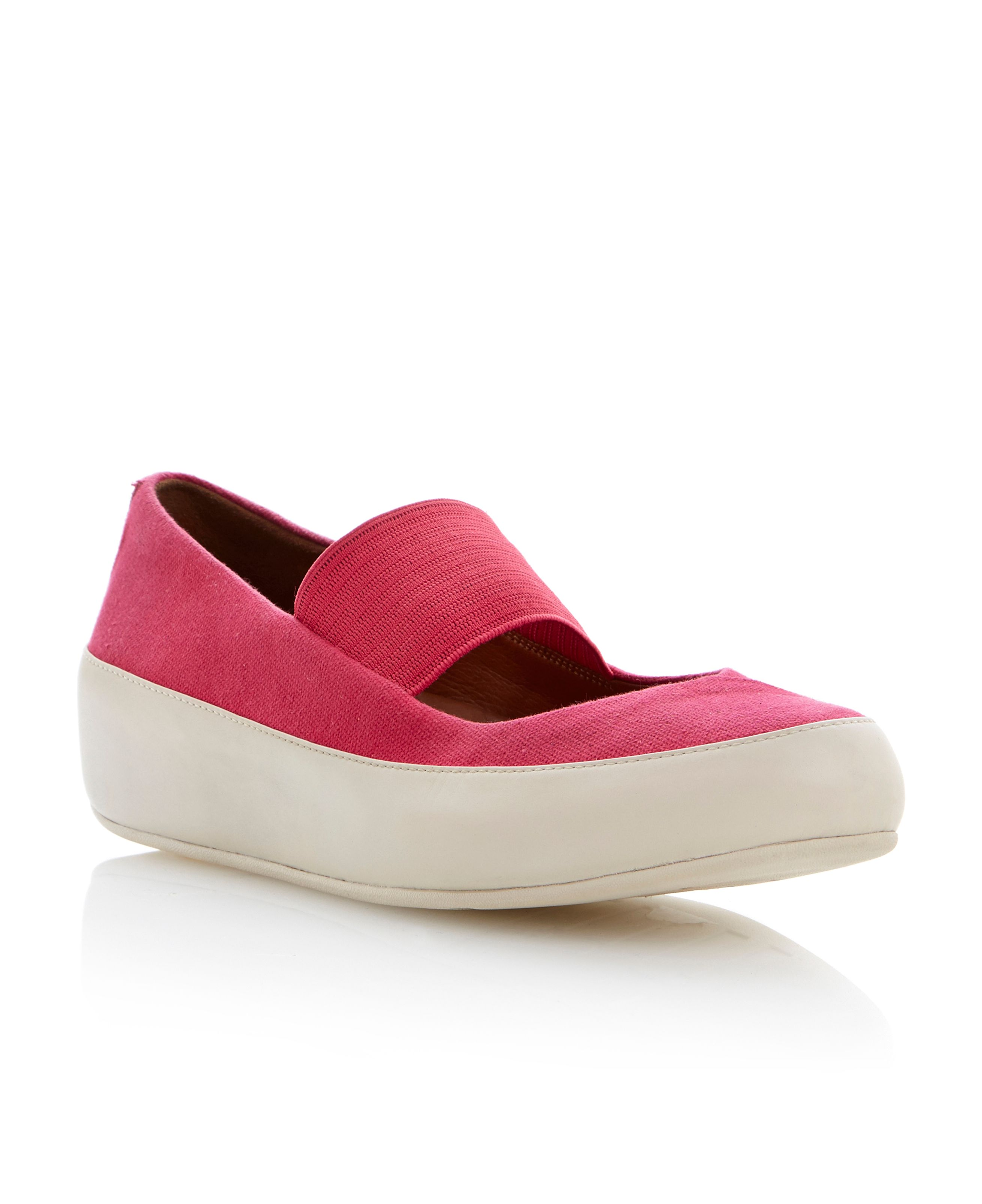 Due m-jane canvas round toe ballerina shoes