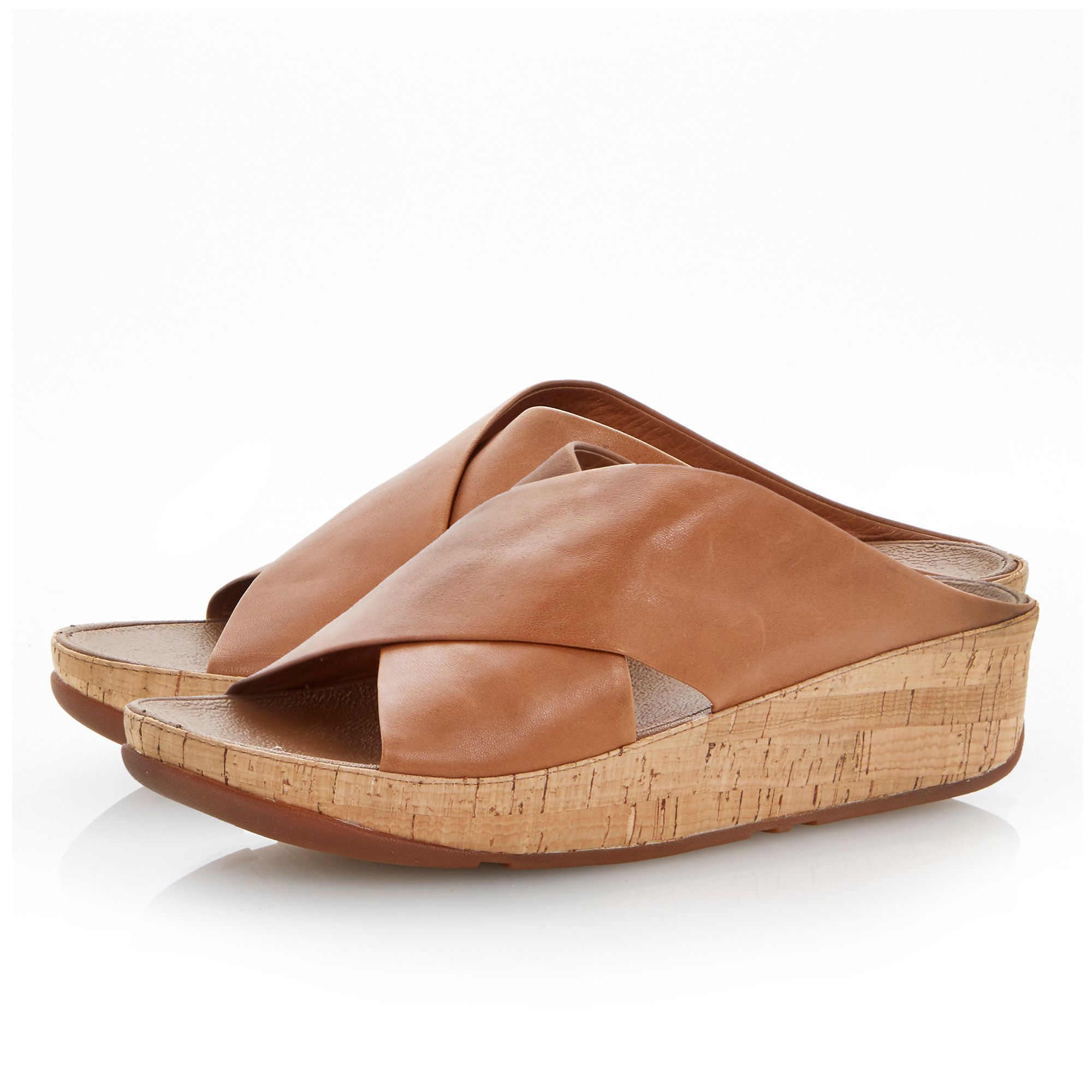 Kys leather round toe crossover wedge sandals