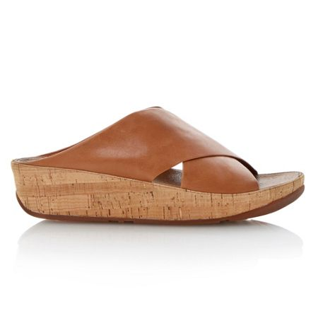 FitFlop Kys leather round toe crossover wedge sandals
