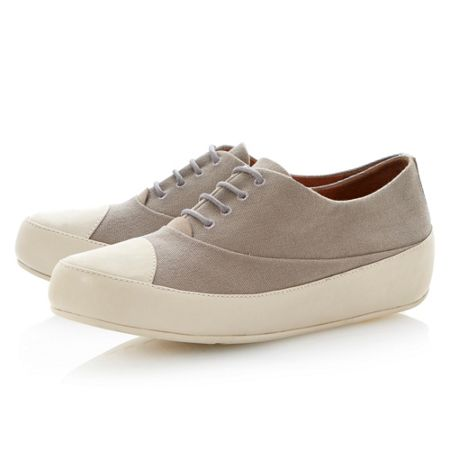 FitFlop Due oxford canvas round toe flat lace up trainers