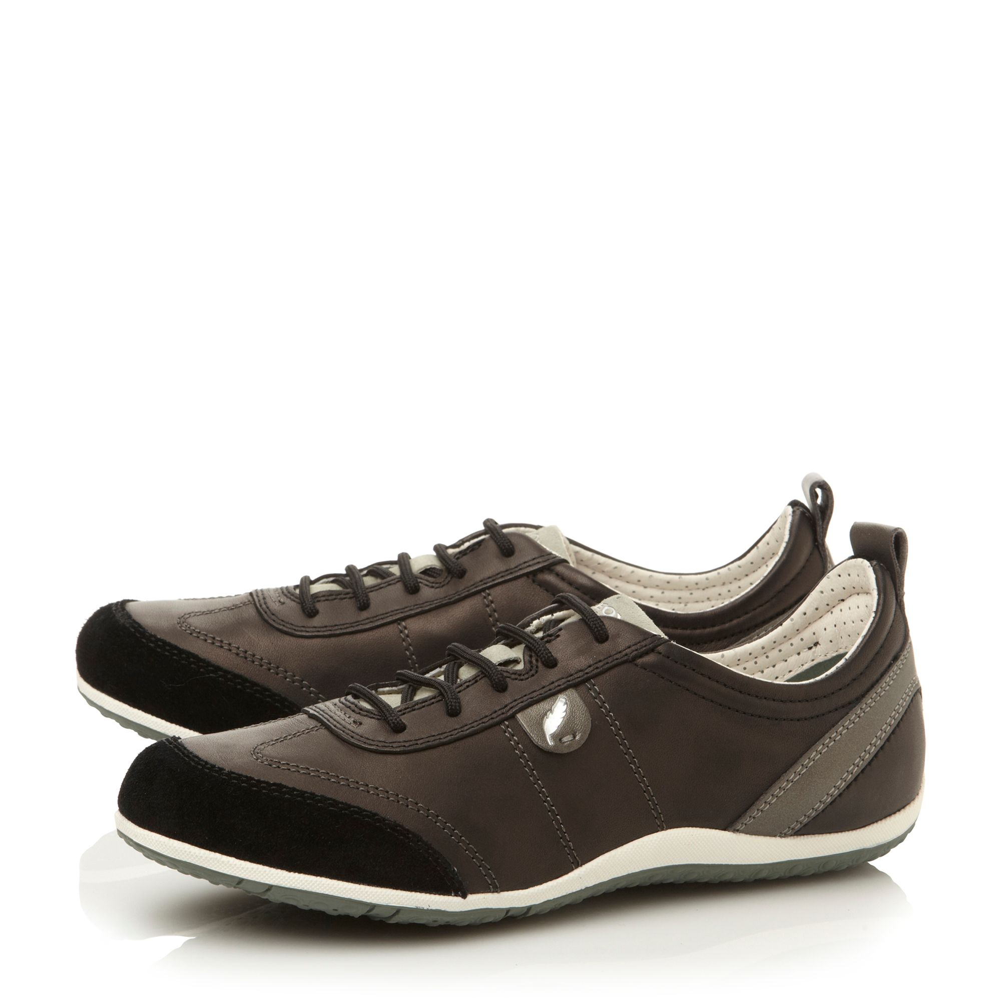Vega lace up leather flat round sports shoes