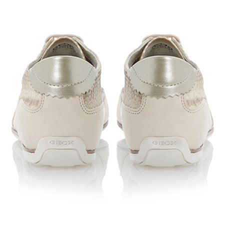 Geox New moena lace up leather flat round sports shoes
