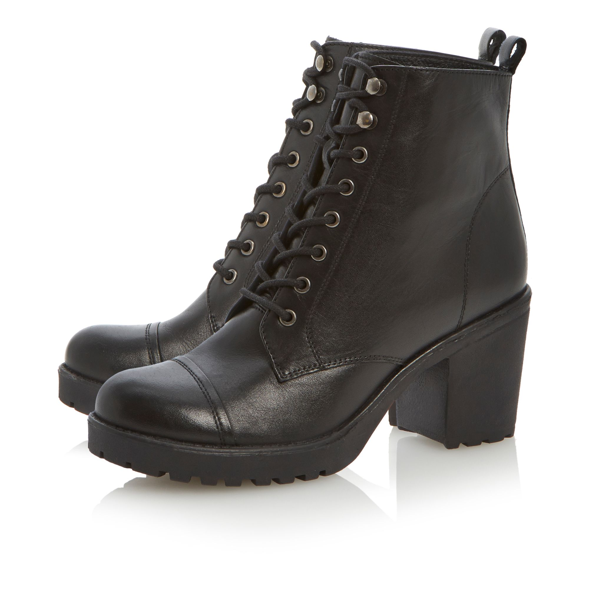 Plath heeled lace up biker boots