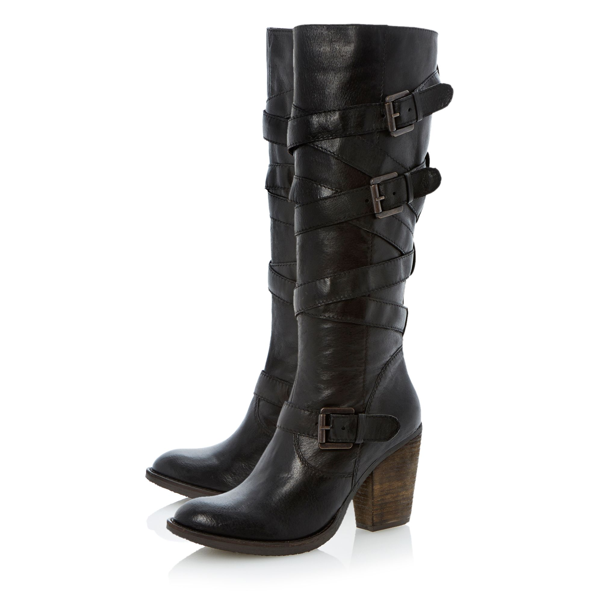 Renegaid wrap around strap heeled knee high boots