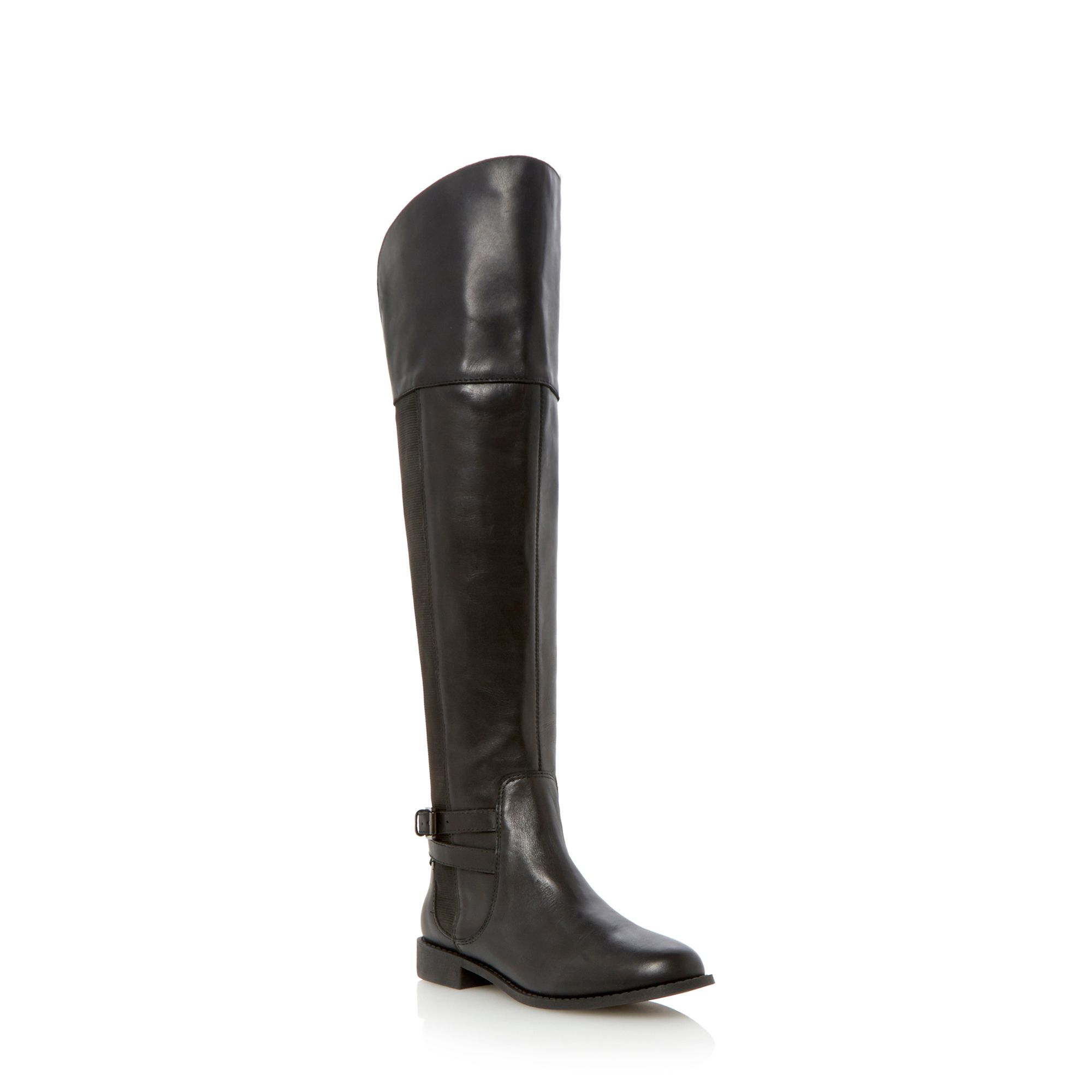 Trowbridge leather almond toe flat knee boots