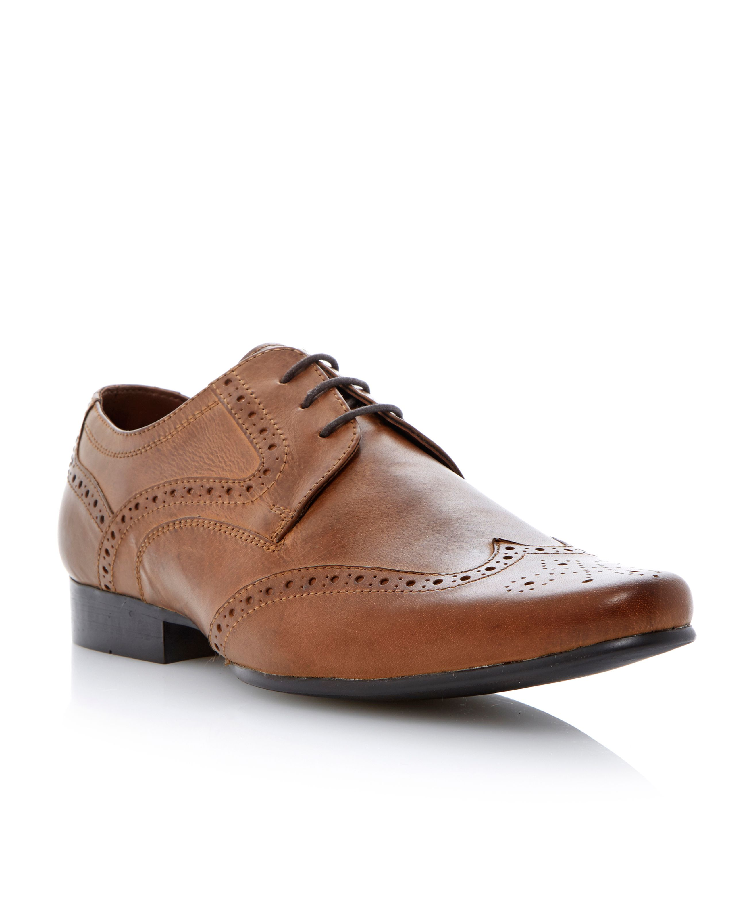 Adams lace up almond toe wingtip brogues