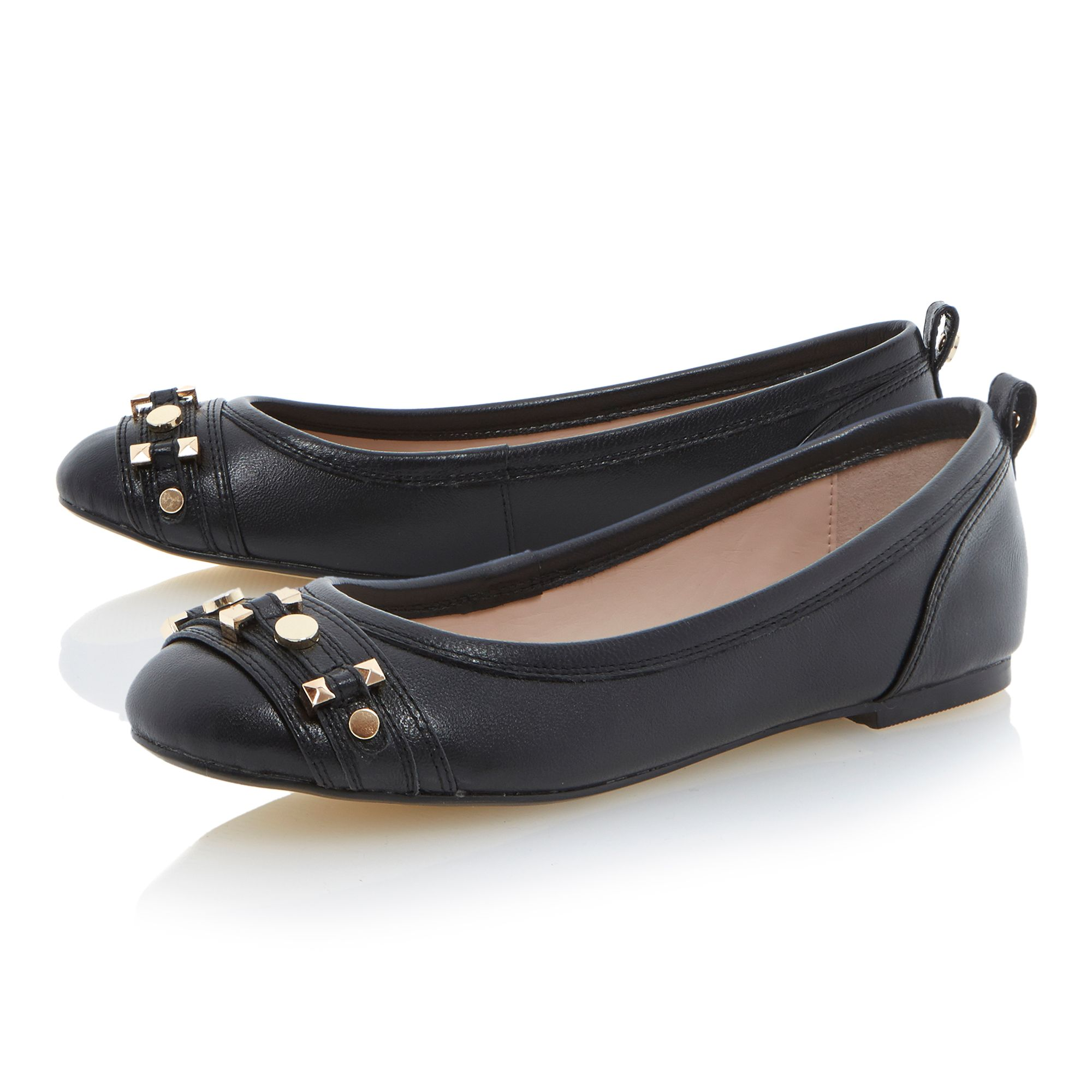 Marys hardware trim leather ballerina shoes