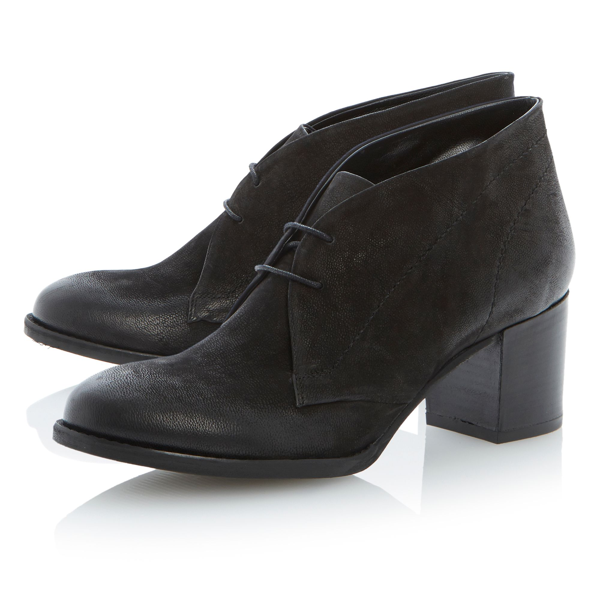 Palazzo leather round toe block heel low boots