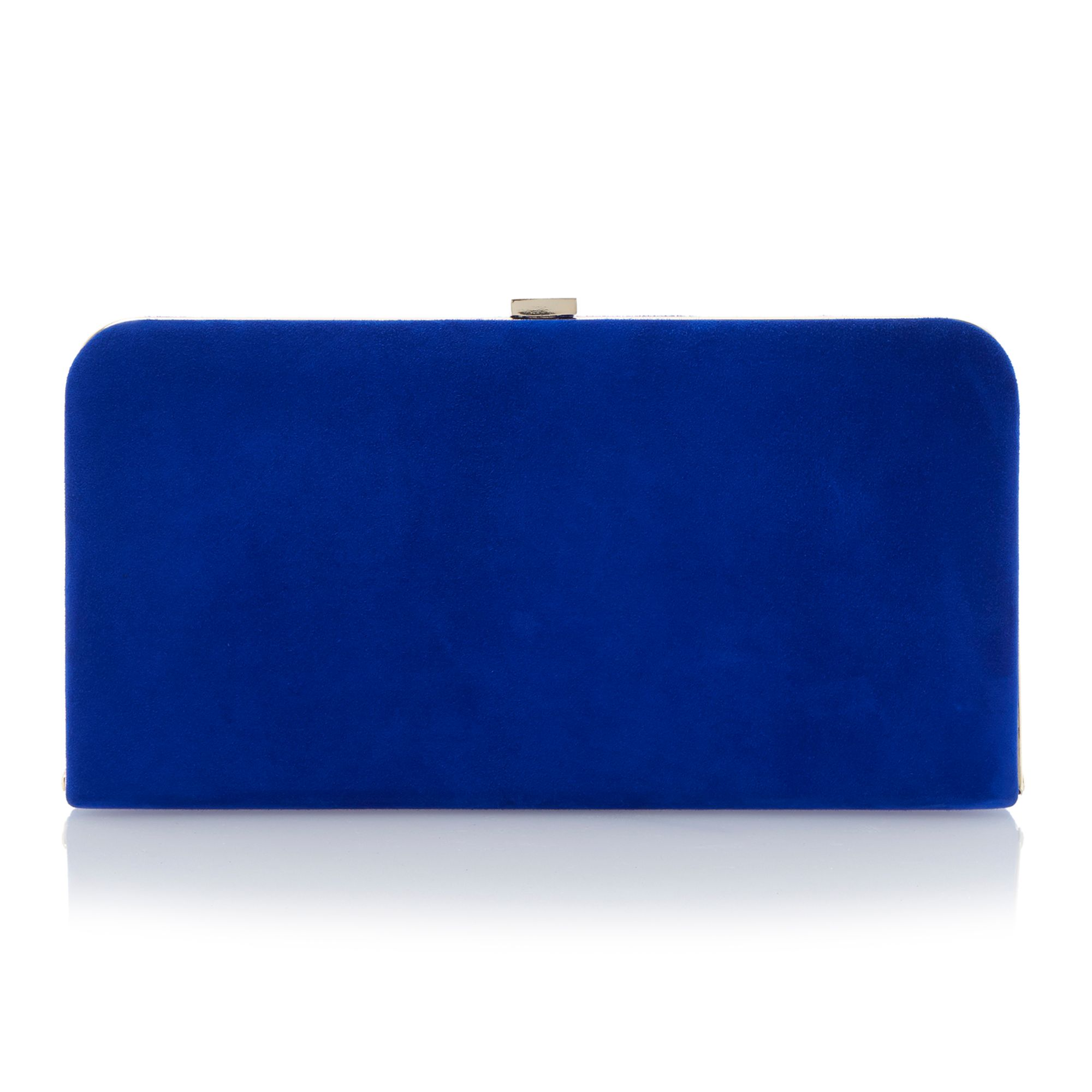 Emmies frame detail suede clutch bag