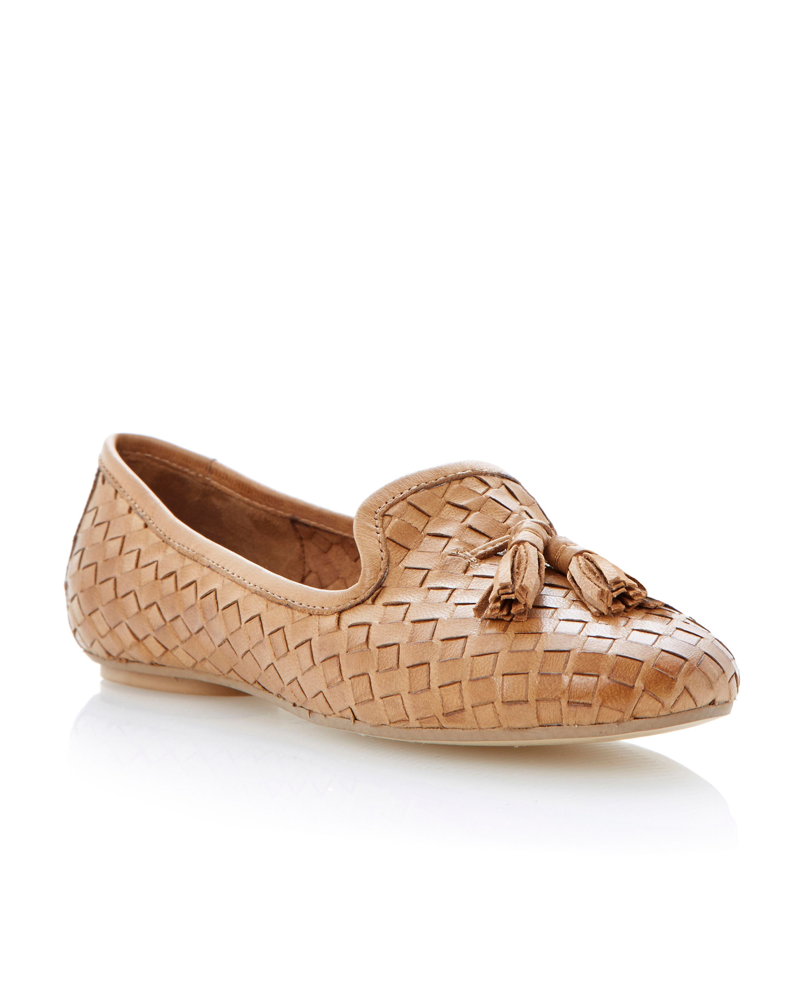Lasso leather almond toe flat loafer shoes