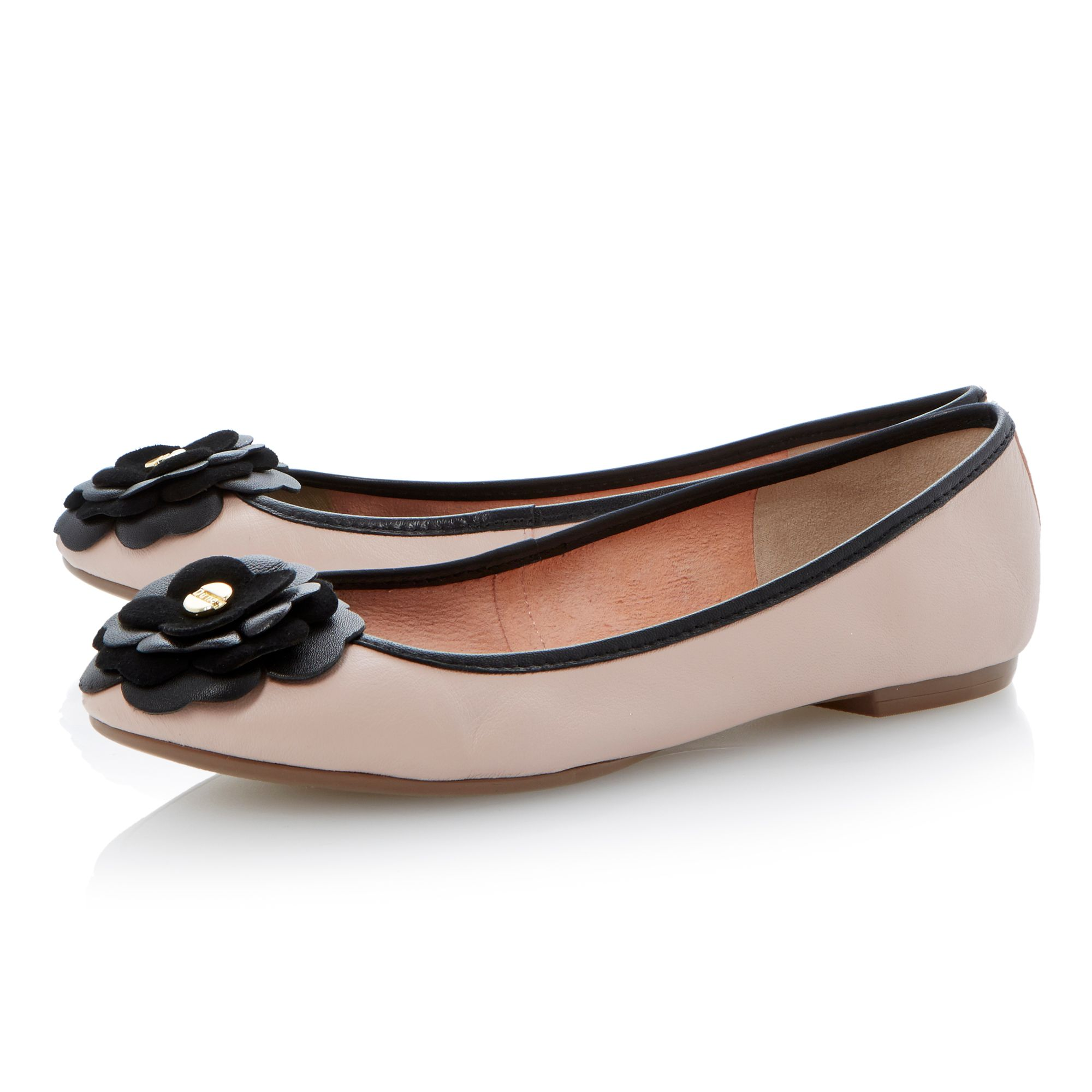 Mariah leather flat almond toe ballerina shoes