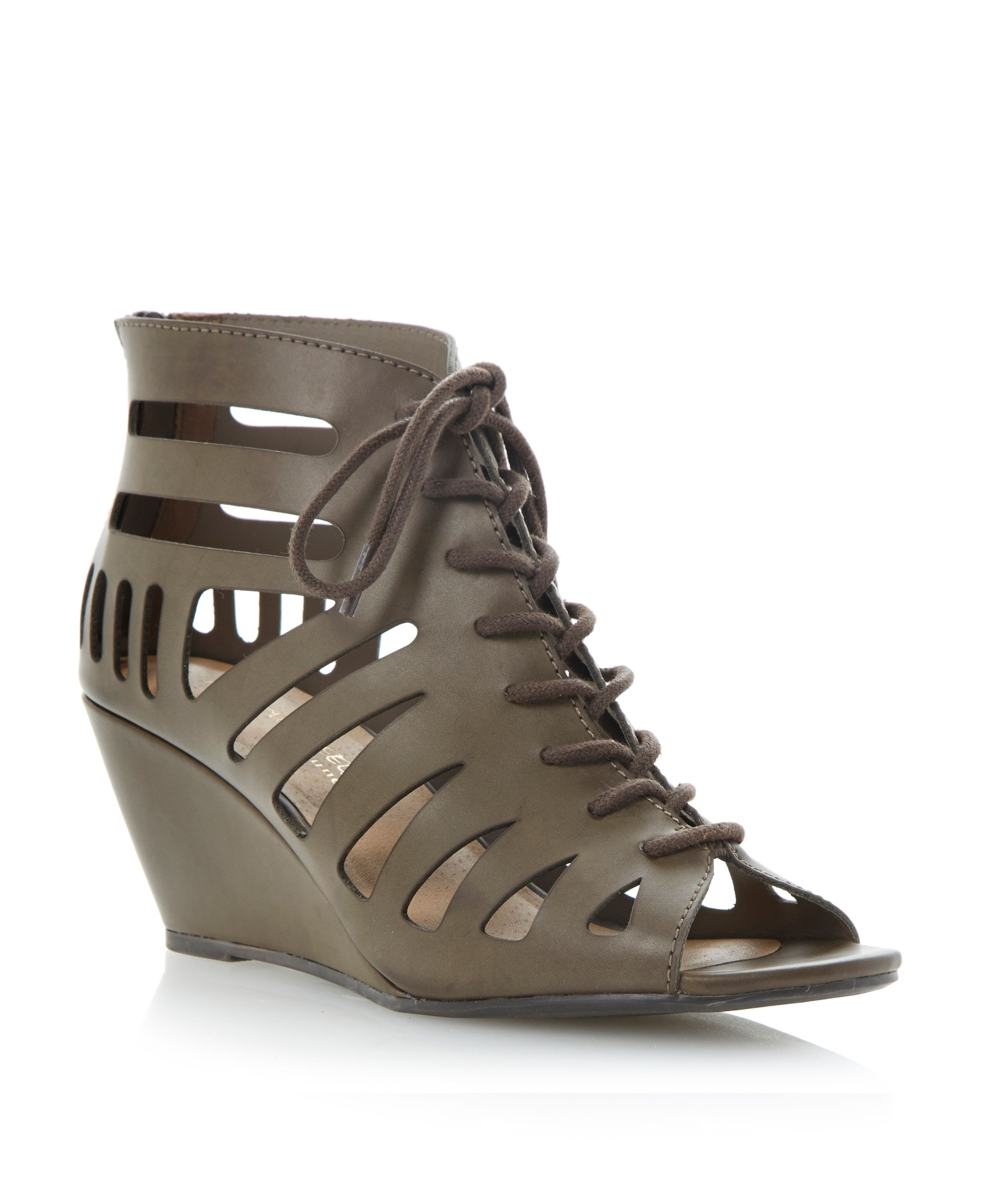Ghillie lace up wedge heeled sandals