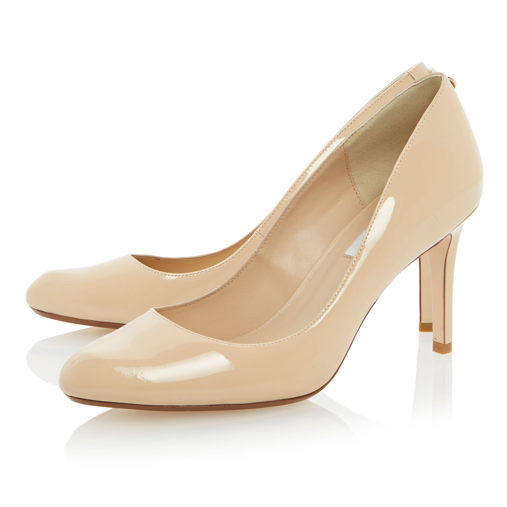 Allie patent stiletto almond toe court shoes