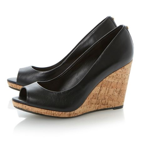 Dune Celia leather peeptoe wedge court shoes