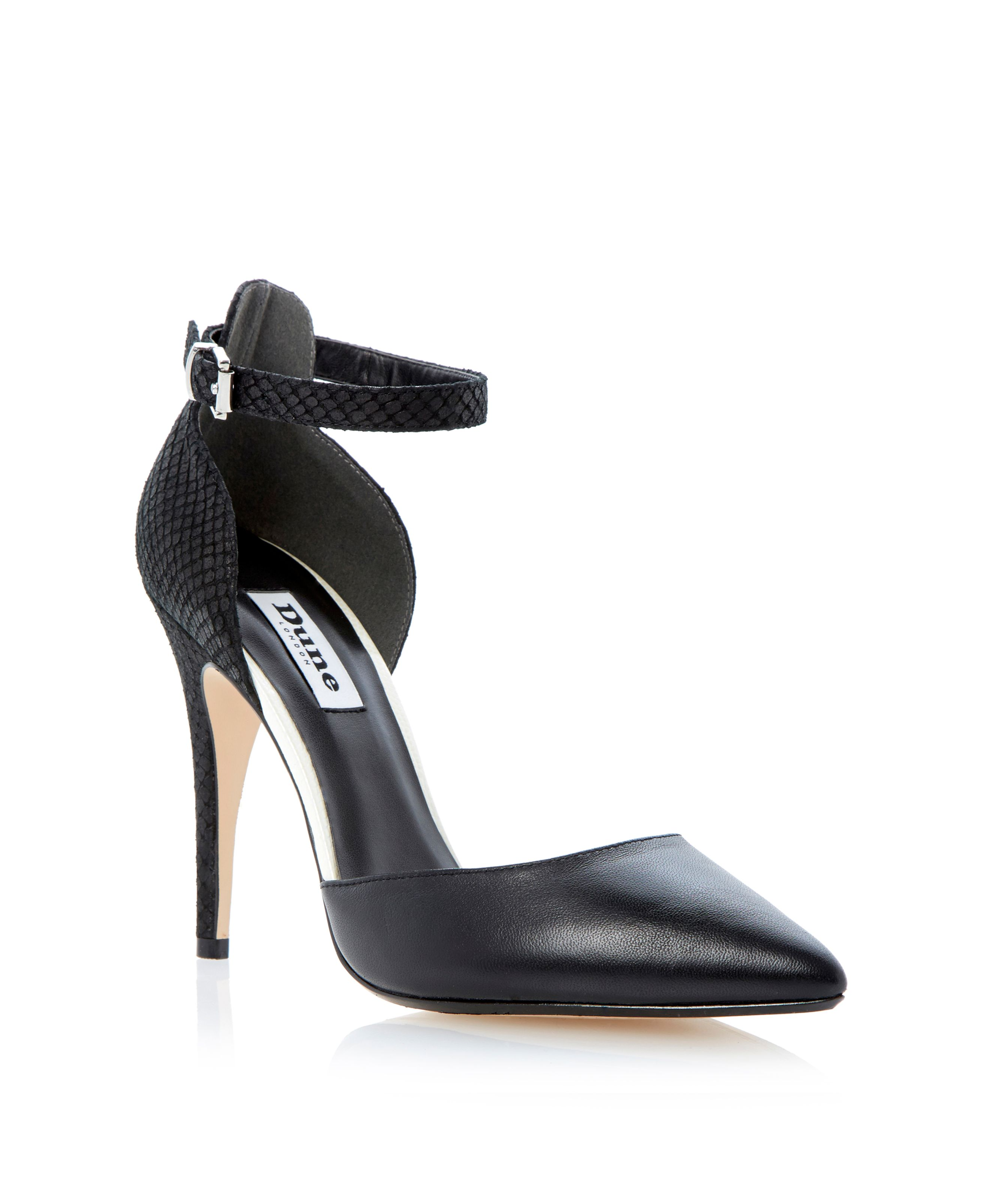 Dita contrasting two part ankle strap court shoes