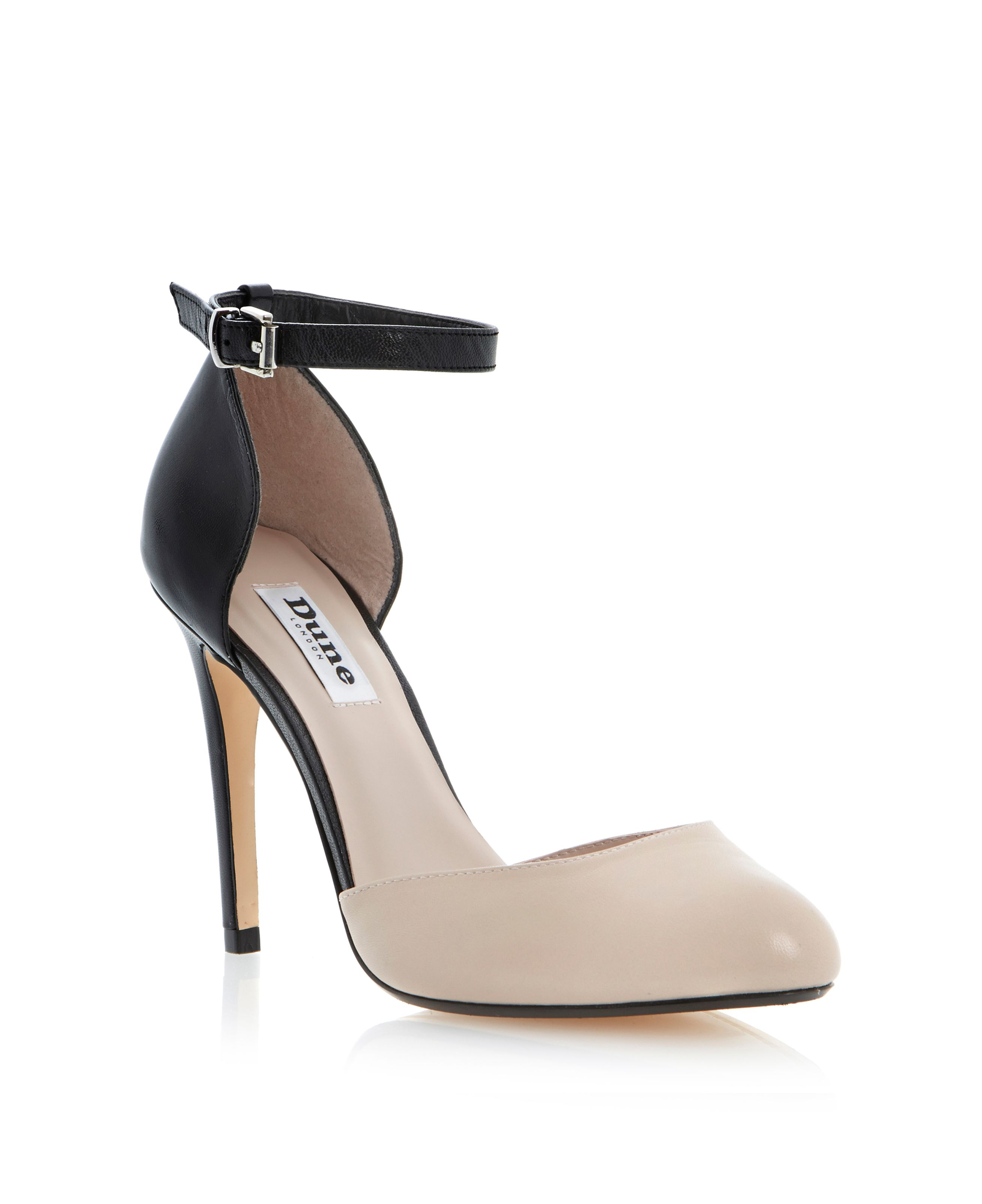 Carys leather two part ankle strap court shoes
